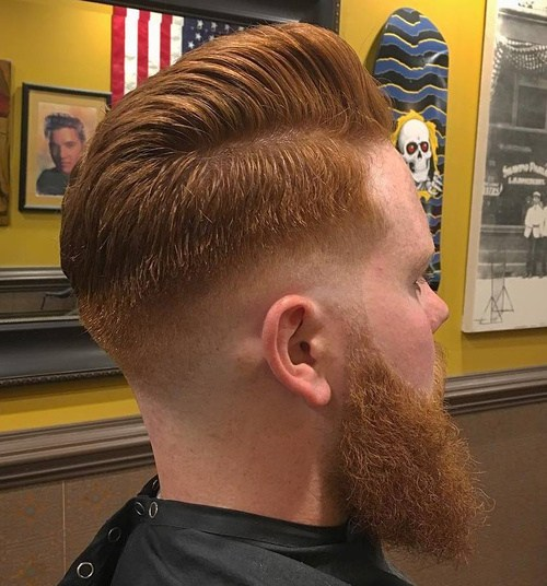 14 red taper fade hairstyle with beard