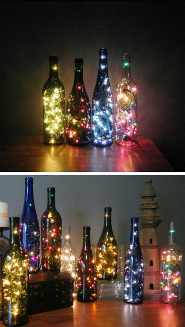 15 DIY Wine Bottles with String Lights