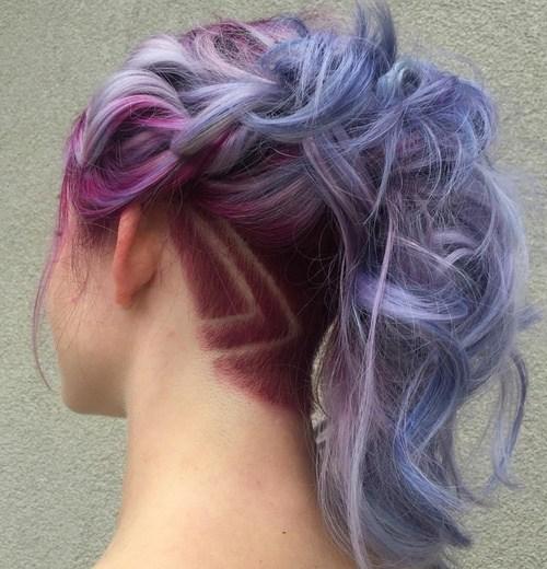 15 pastel purple ponytail with nape undercut