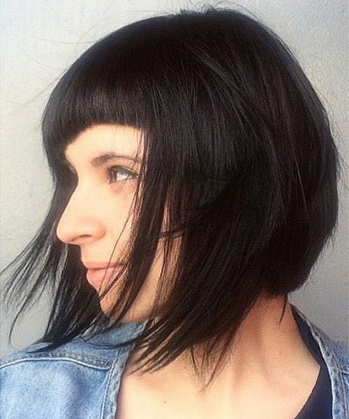 16 chin length layered cut with uneven bang