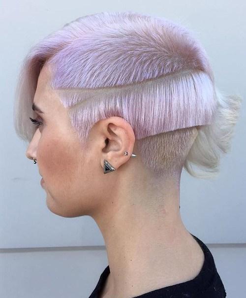 17 short pastel purple asymmetrical hairstyle