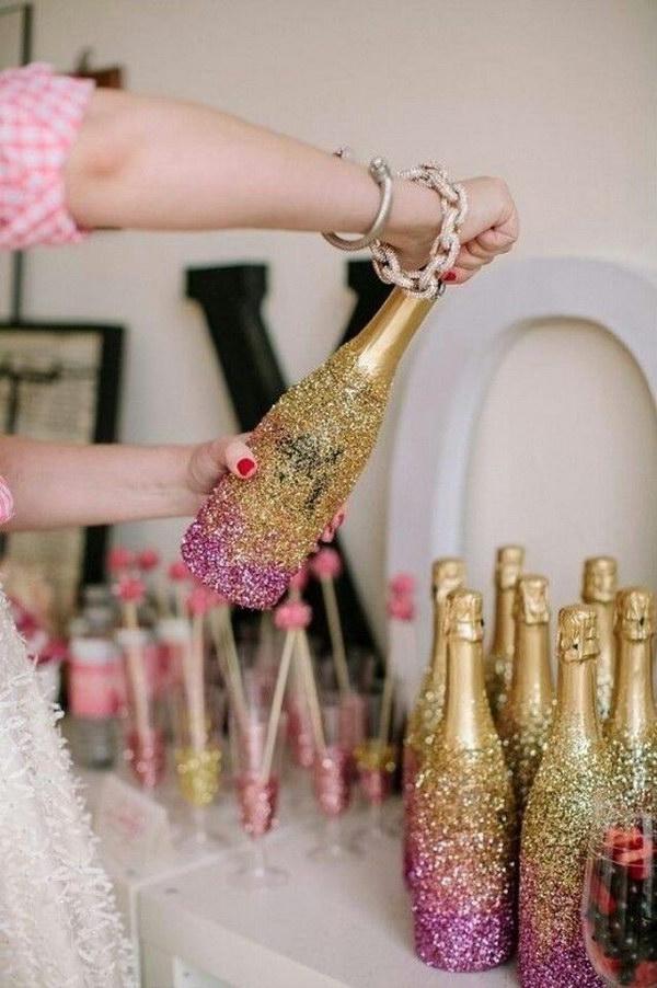 18 DIY Glitter Champagne Bottles