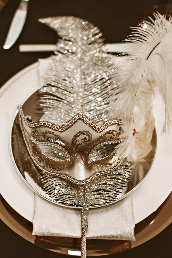 19 A Mask at Each Table for a New Year Party Decoration