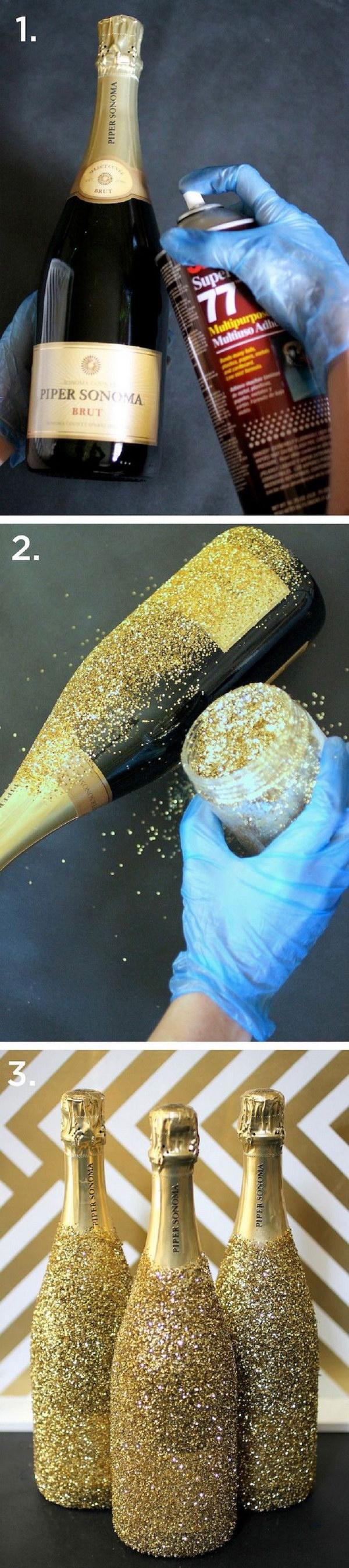 20 DIY Glitter Champagne Bottles