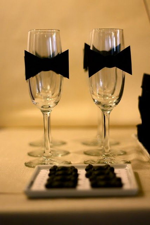 23 Black Bow Tie Wine Glasses