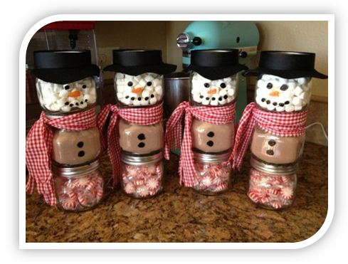 24 Stacked Jar Hot Chocolate Snowmen