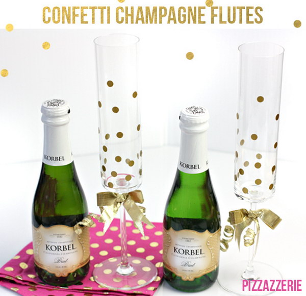 25 DIY Gold Confetti Champagne Glasses