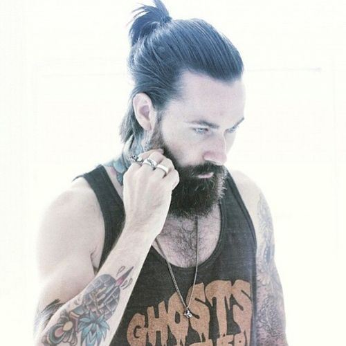 27 short ponytail with beard