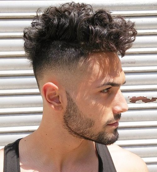 3 curly top with fade hairstyle