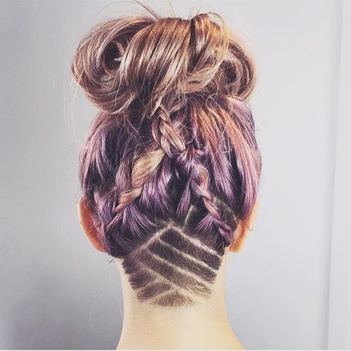 37 messy braids and bun hairstyle with shaved nape design