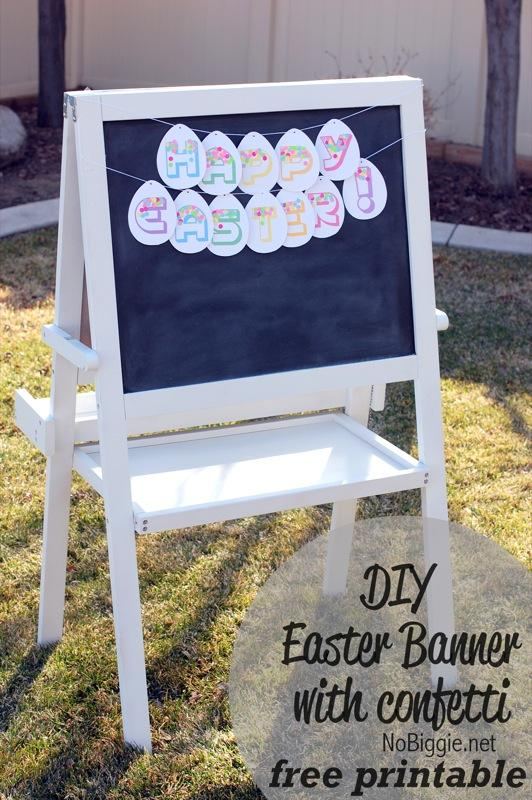 38 DIY Easter Banner with confetti