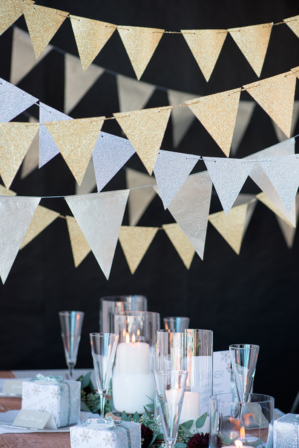38 Silver and Gold NYE Paper Banner