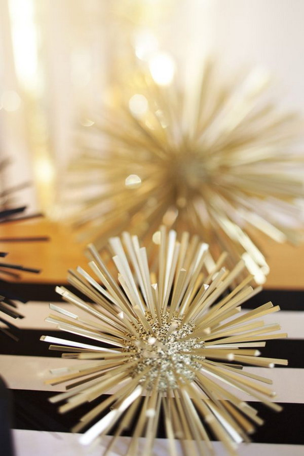 40 DIY Gold and Glitter Styrofoam Balls Toothpicks
