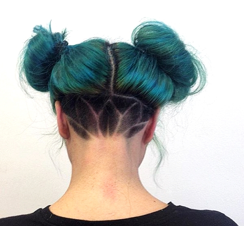 40 two buns messy funky hairstyle with nape undercut
