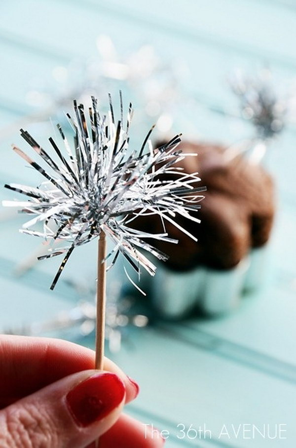41 DIY Tinsel Sparklers Toothpick Toppers