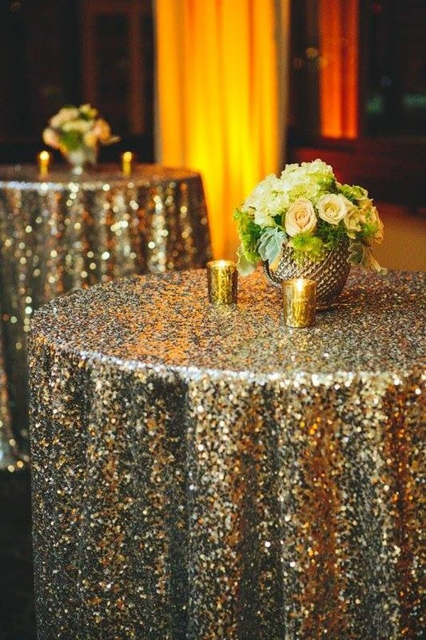 42 Gold Sequin Tablecloth NYE Decoration