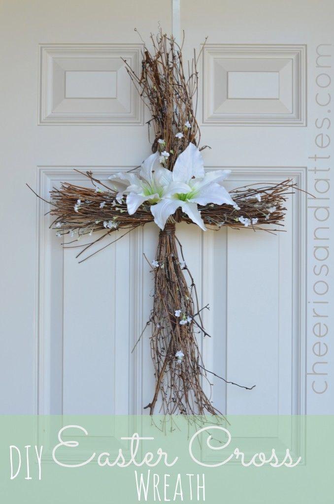 46 DIY Easter Cross Wreath