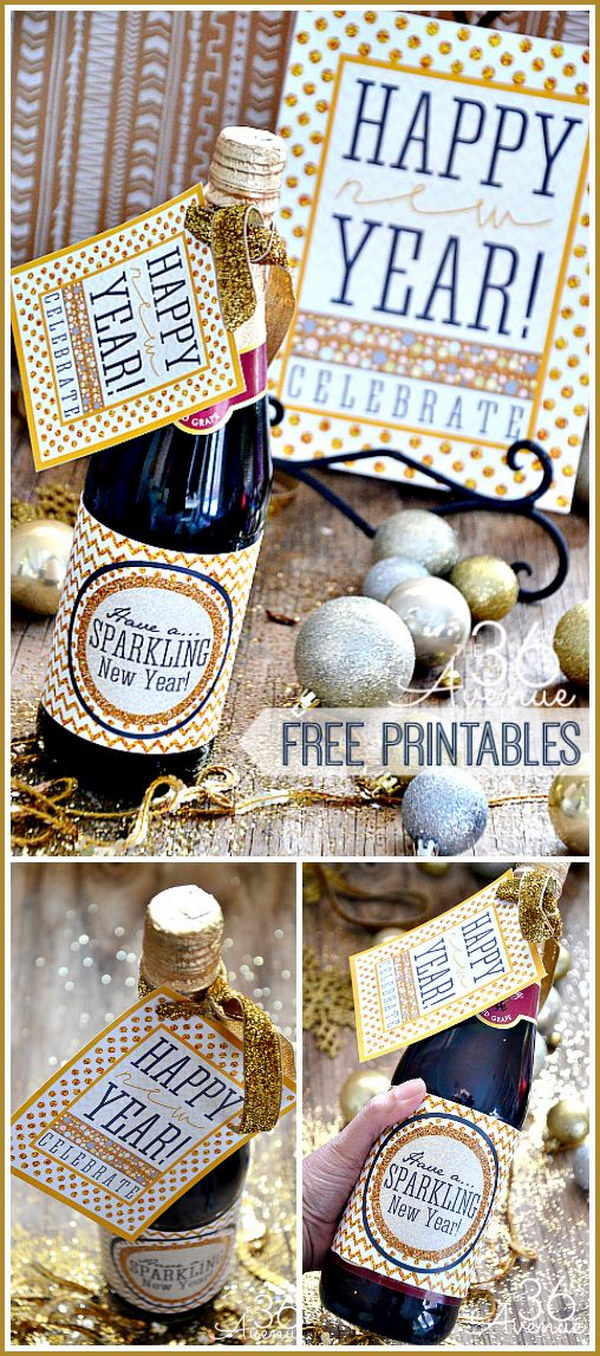 46 NYE Champagne Bottle Favors with Glittery Printables