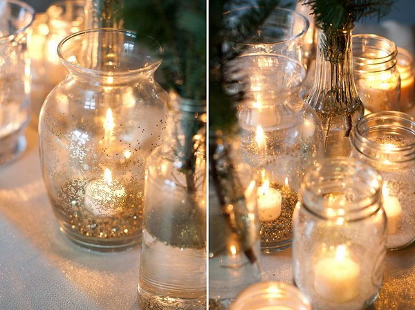 9  DIY Gold Glitter Glass Vases