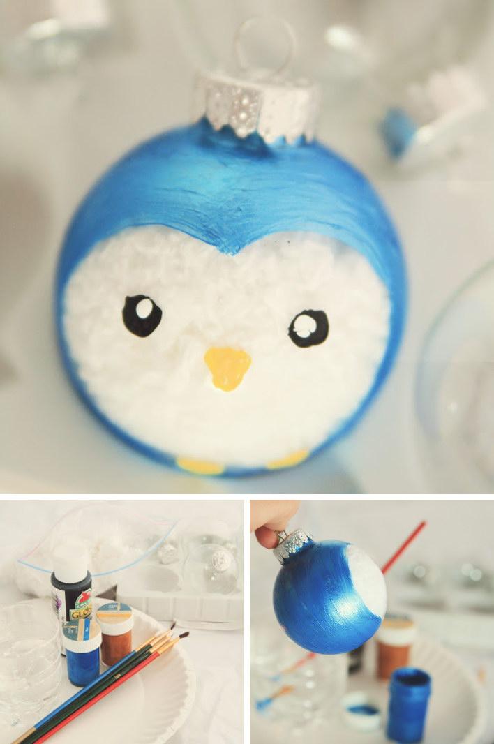 1 Cute Painted Penguin Ornament