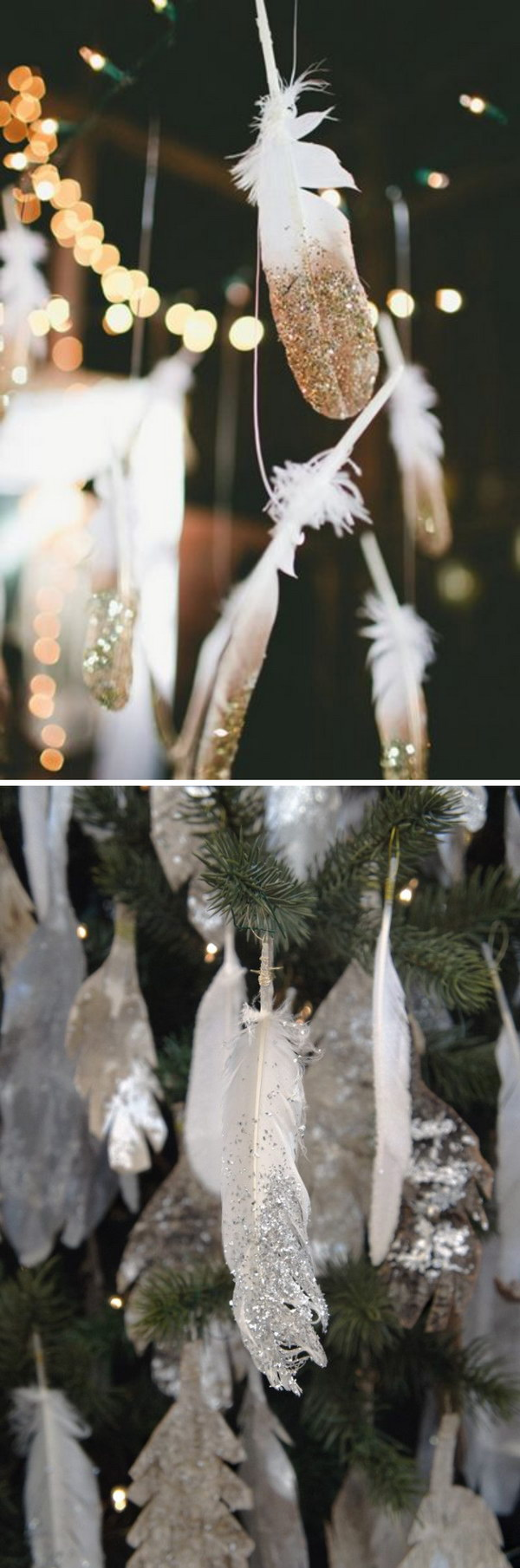 1 DIY Sparkling Dip-Glitter Silver and Golden Feathers