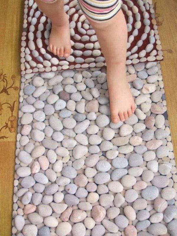 10 DIY Sensory Pebble Stones Rug