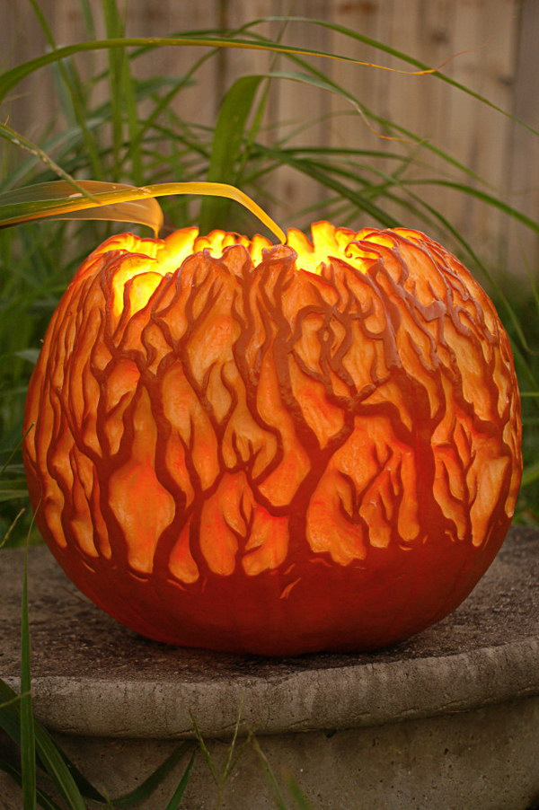 11 Glowing Forest Carved Pumpkin