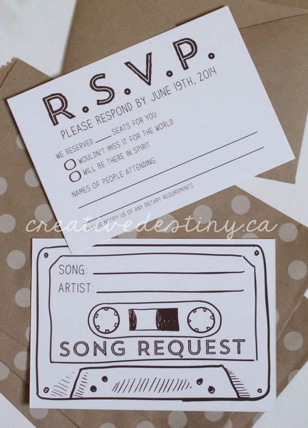 12 Cassette Tape Song Request Wedding RSVP Card