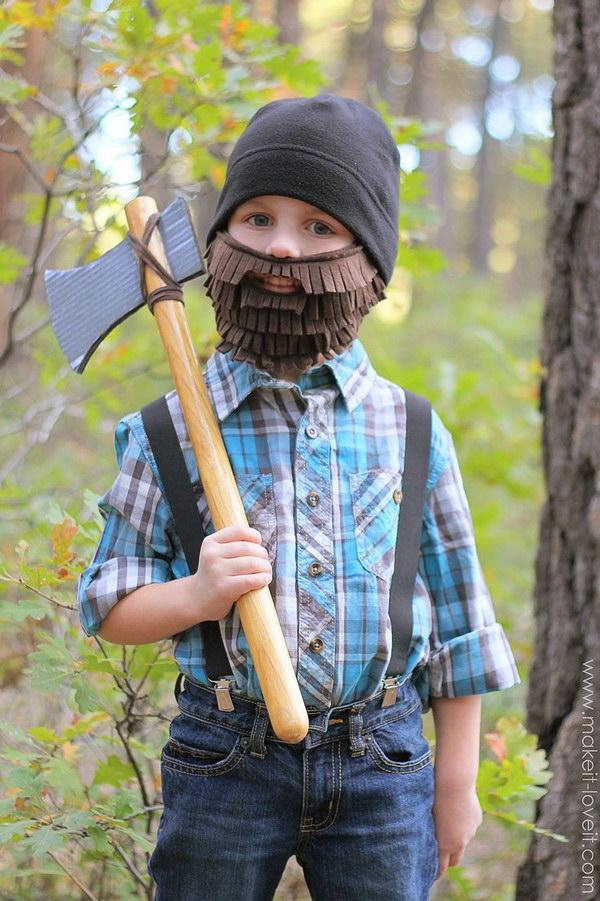 12 DIY Lumberjack Costume with Beard and Axe