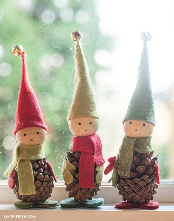 13 Felt and Pine Cone Elves