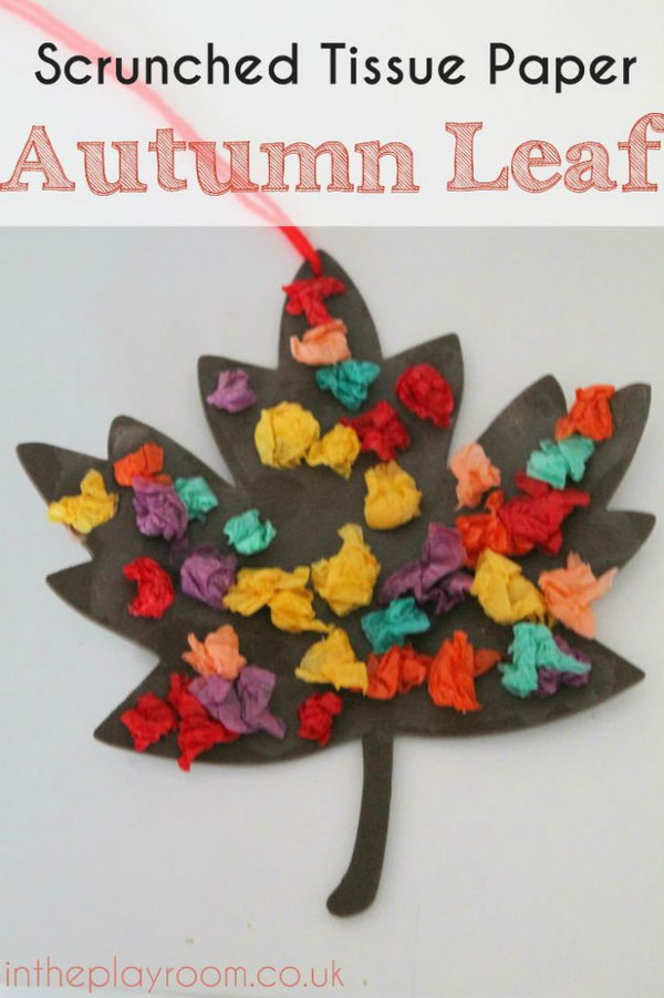 13 Scrunched Tissue Paper Autumn Leaf  Fall Craft