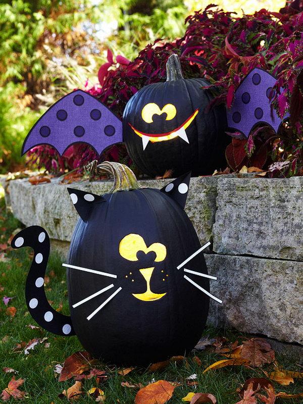 14 Bat and Cat Pumpkins