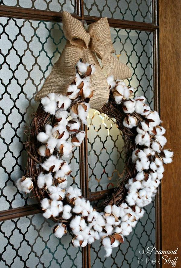 14 Cotton Boll Wreath Tutorial