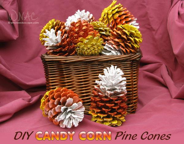 14 DIY Candy Corn Pine Cones