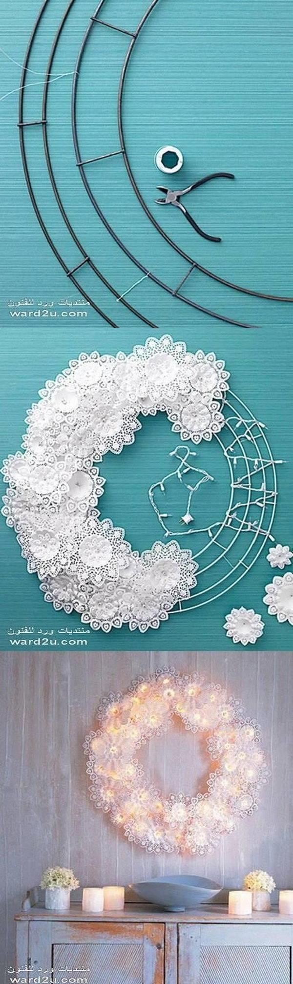 15 DIY Paper-Doily fairy light  Wreath Tutorial