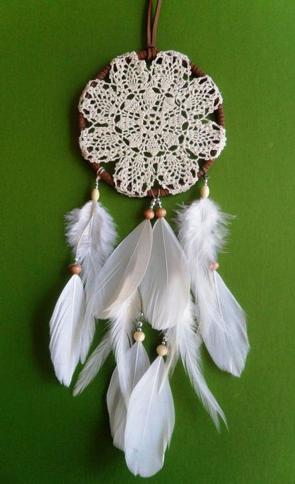 15 Doily and Feather Dream catcher