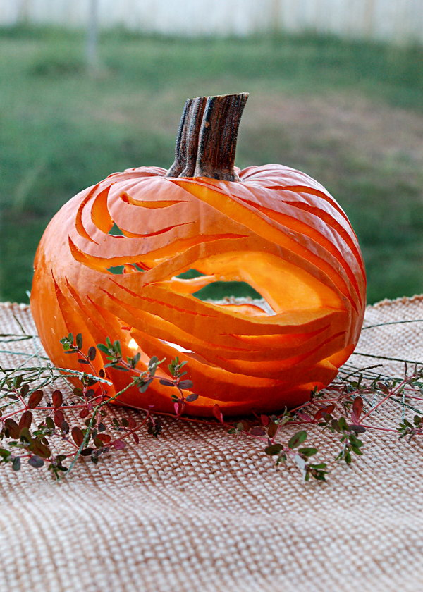 17 Abstract Pumpkin with Undulating Lines and Flowing Curves