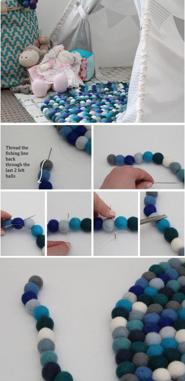 17 DIY Colorful Felt Ball Rug