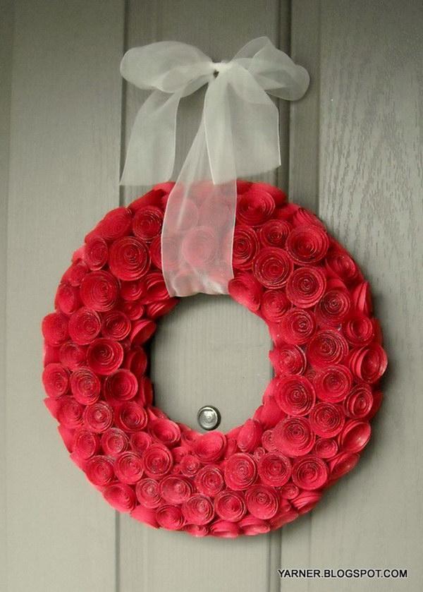 17 Paper Rose Wreath Tutorial