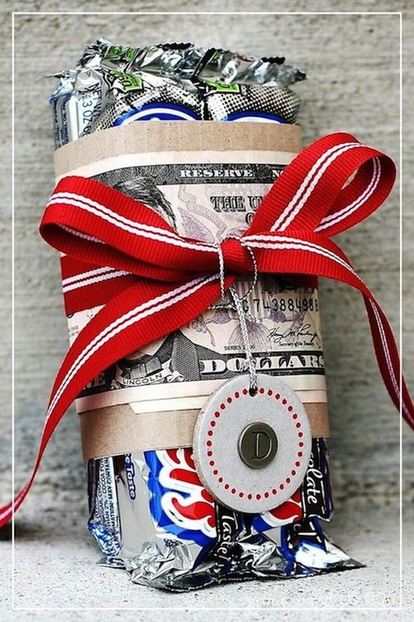 18 Candy Bar Wrapped with Money Gift