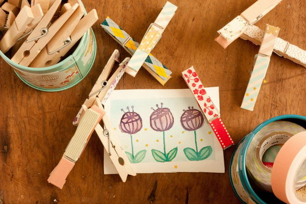 18 Cute Clothespins with Washi Tape