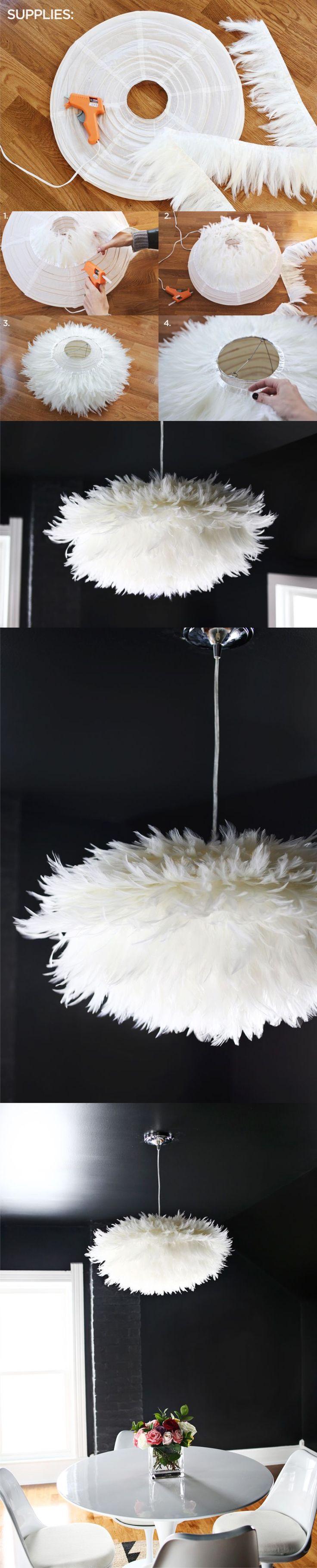 19 DIY Chic White Feather Chandelier