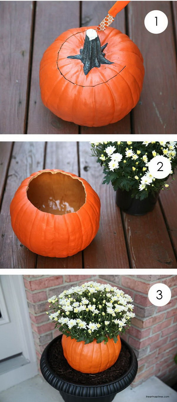 2 DIY Pumpkin Flower Pot