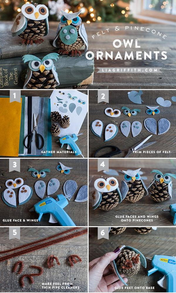 2 Felt & Pinecone Owl Ornaments