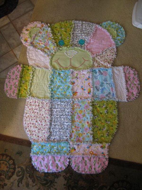2 Teddy Bear Baby Rug Quilt