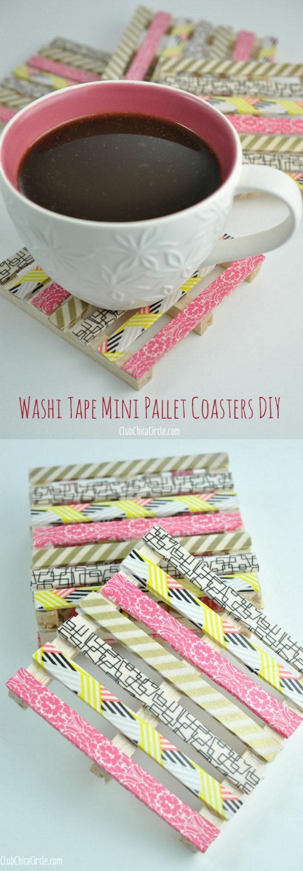 2 Washi Tape Mini Wood Pallet Coasters