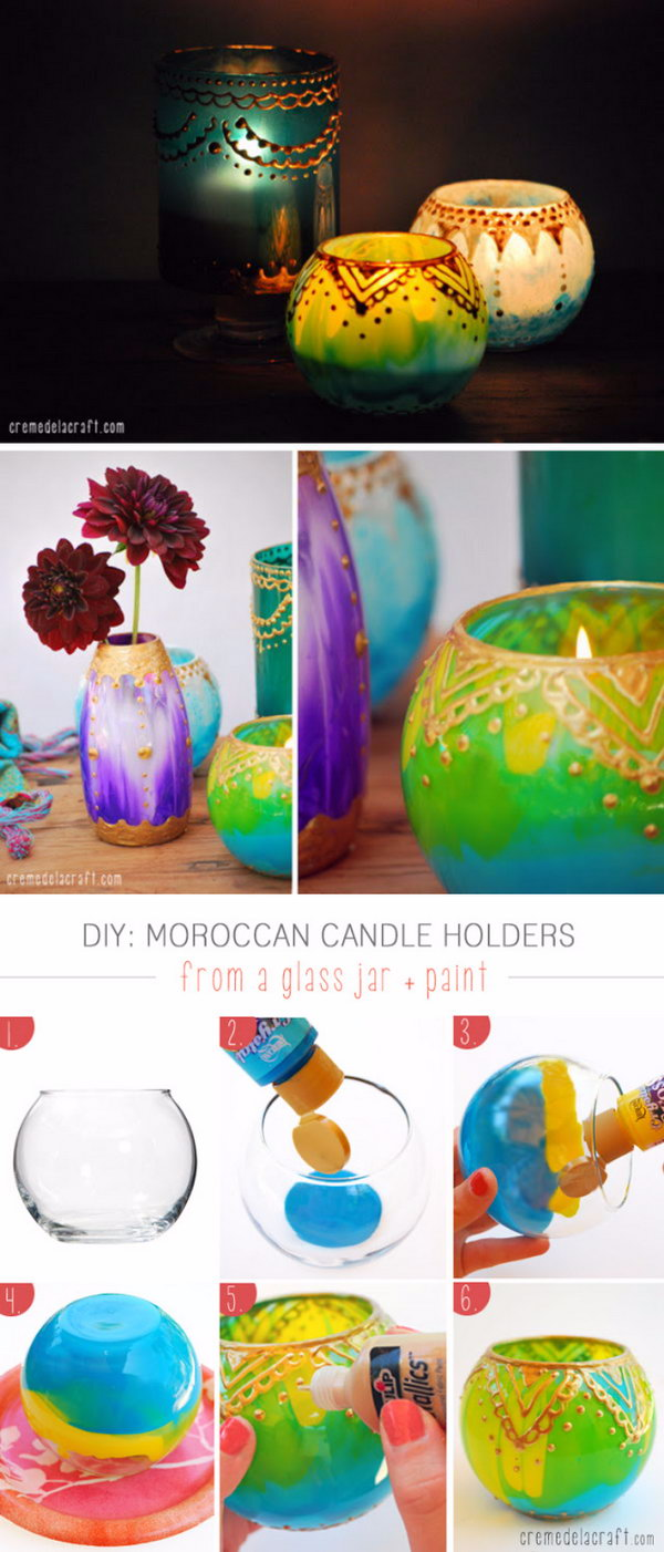 21 DIY Candle Holder Made From Dollar Store Glass Jar