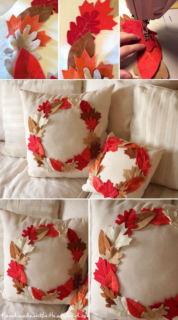 21 DIY Thanksgiving Leaf Pillows