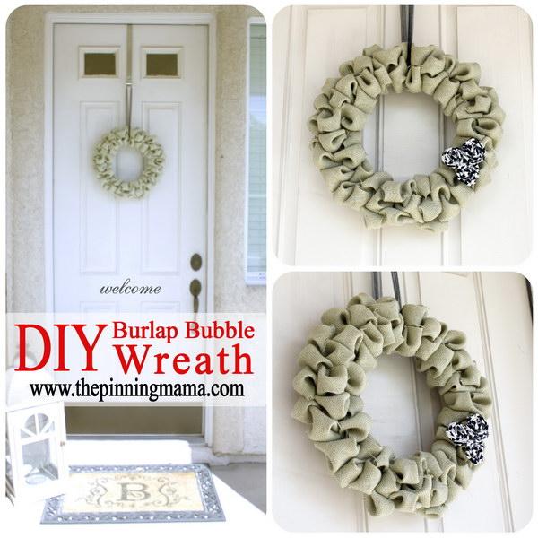 22 DIY Burlap Bubble Wreath Tutorial
