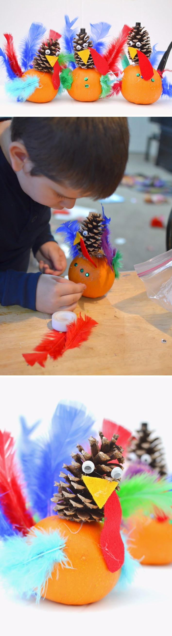 22 DIY Pumpkin and Pine Cone Turkey Craft